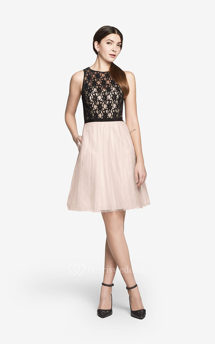 Angelic Short A-Line Dress With Lace Bodice