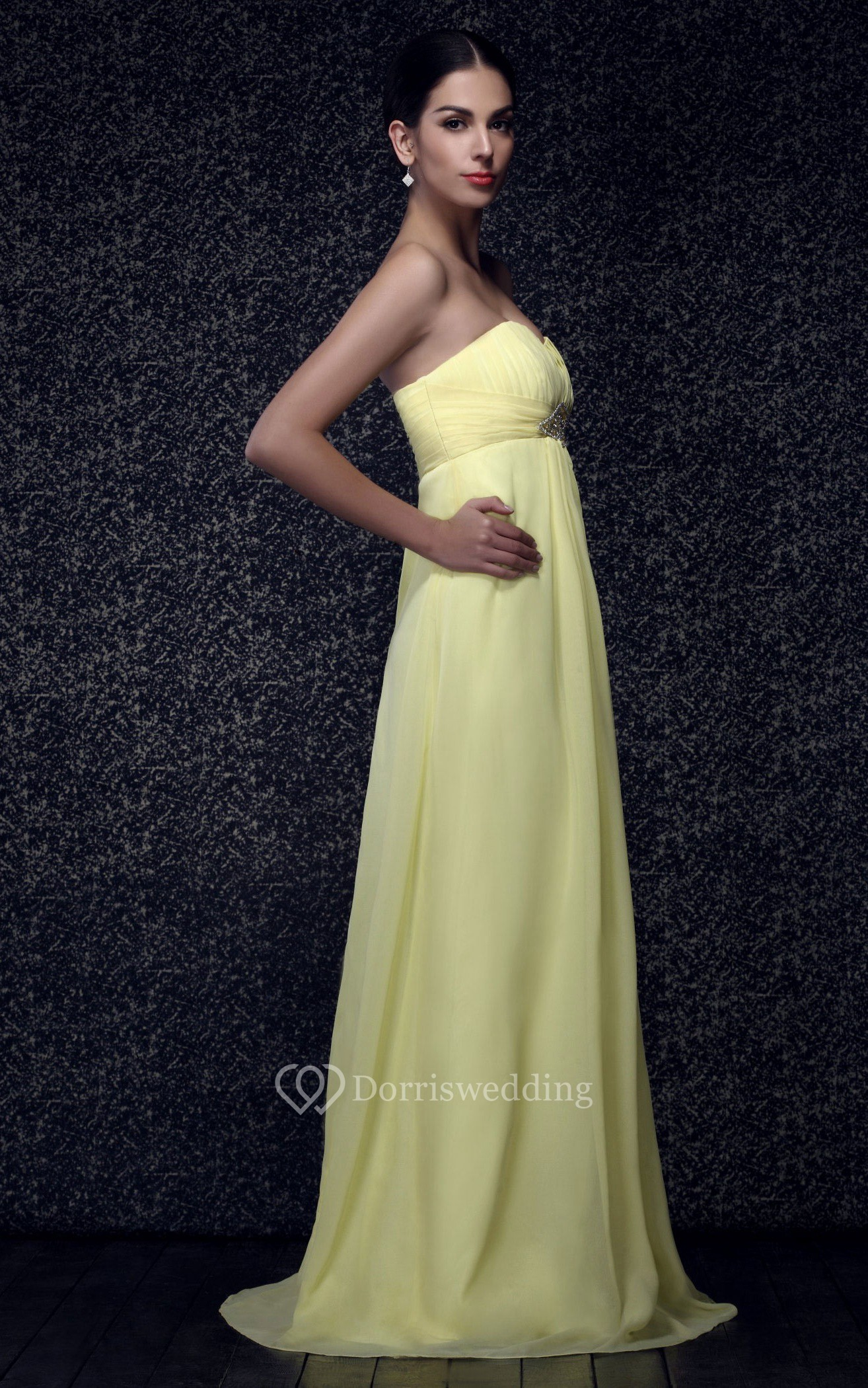 Sweetheart Ruched Maxi Chiffon Dress With Pleats and Beaded Waist