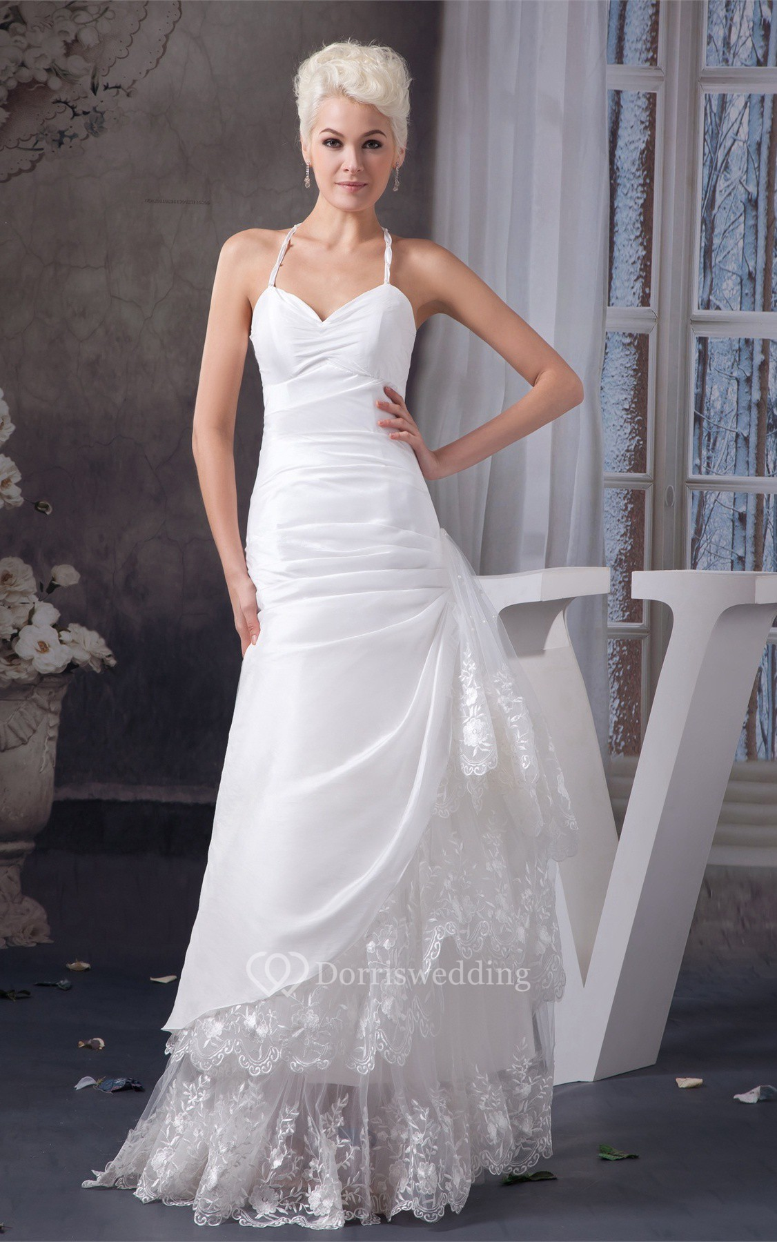 Spaghetti-Strap A-Line Ruched Draping and Dress With Lace
