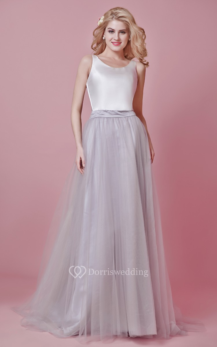 Sleeveless Long Tulle and Satin Dress With Pleats - Dorris