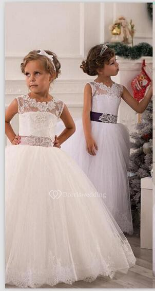 Modern Illusion Sleeveless Tulle Flower Girl Dress With Lace Appliques