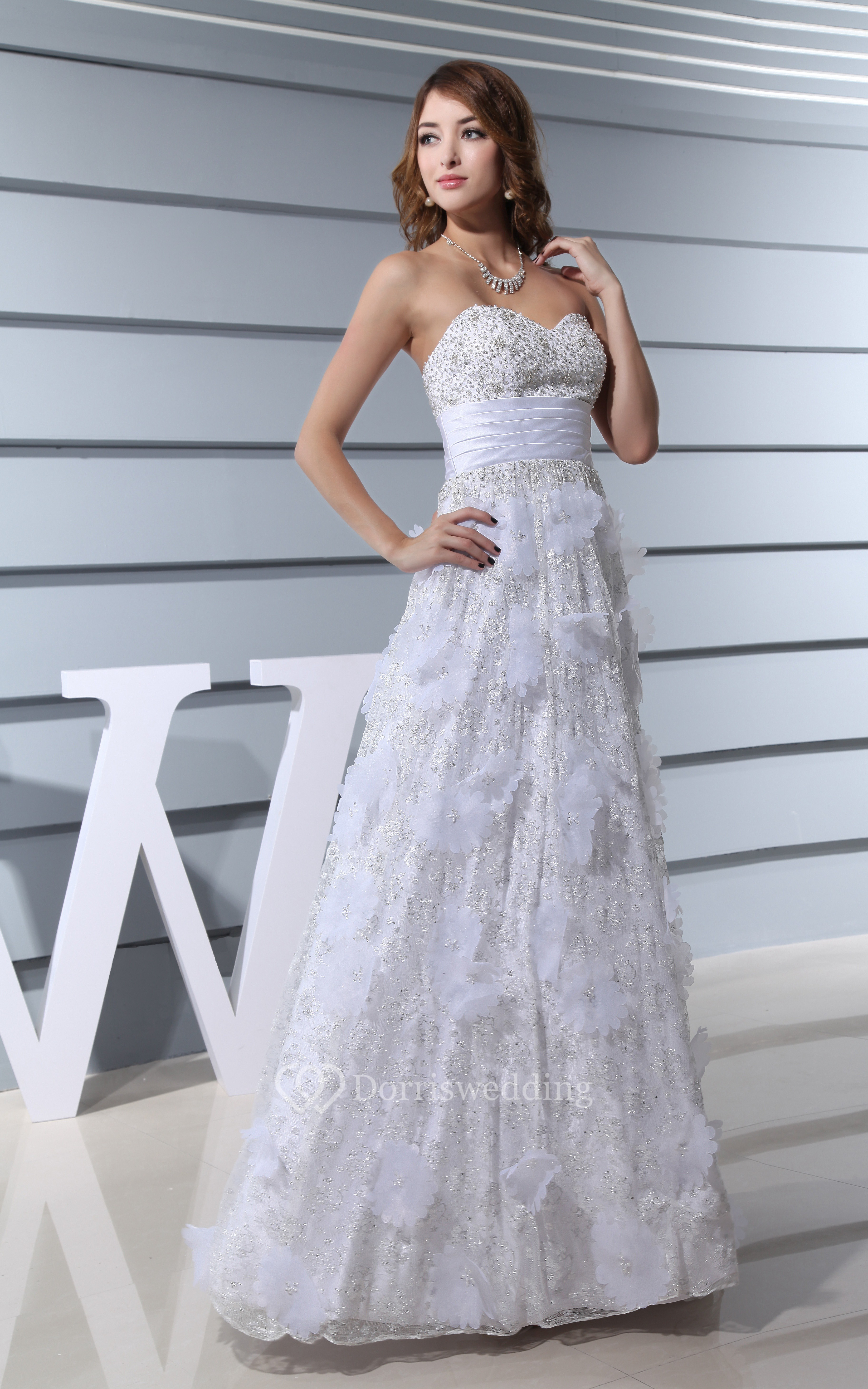 Sweetheart Beaded A-Line Maxi Dress With Flower and Ruched Waist