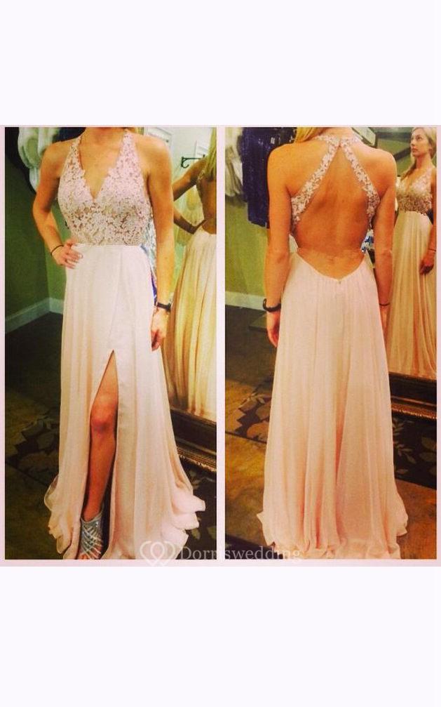 Maxi Halter Appliques Keyhole Chiffon Lace Dress
