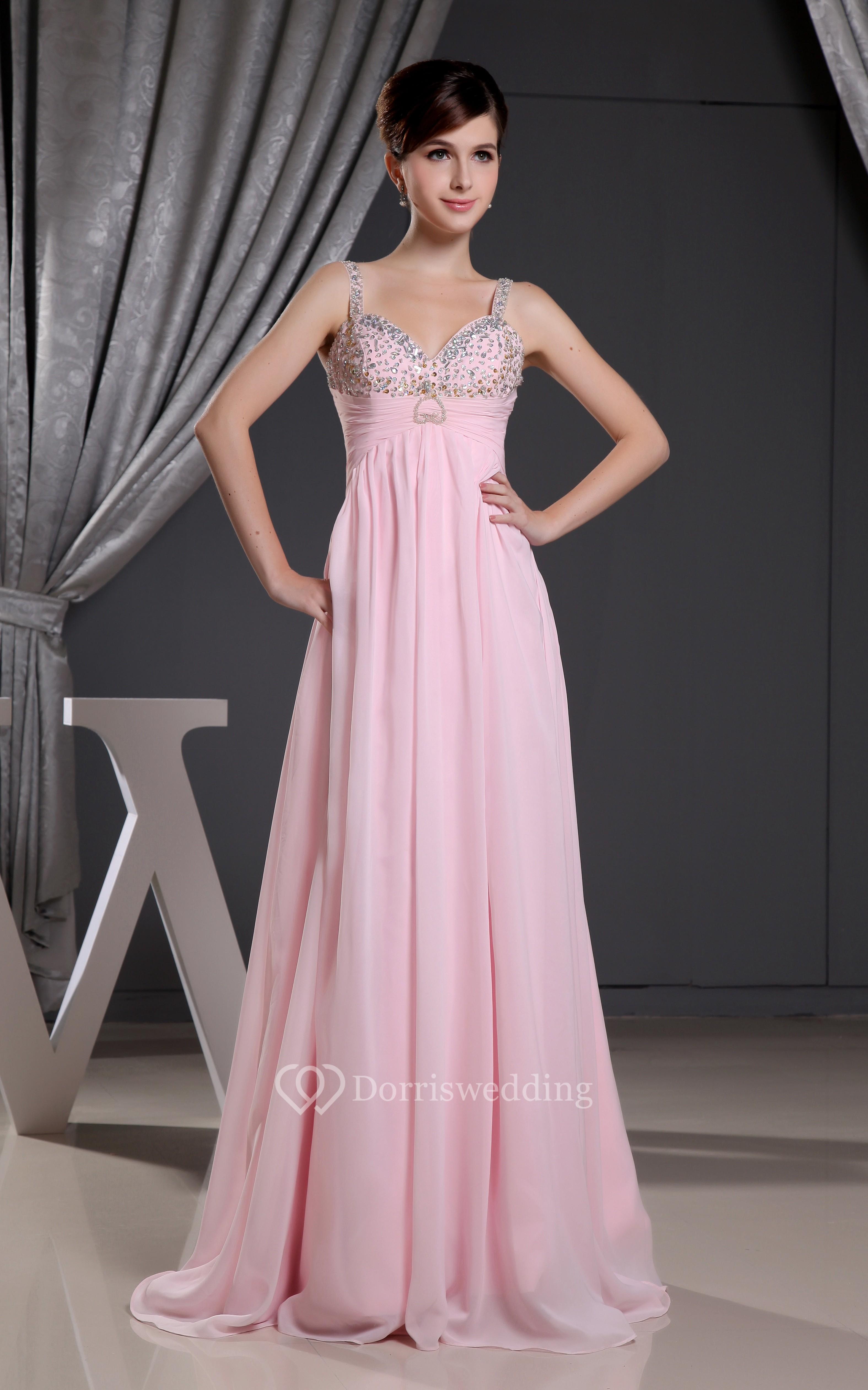 Sleeveless Chiffon Maxi Dress With Ruched Waist and Beading