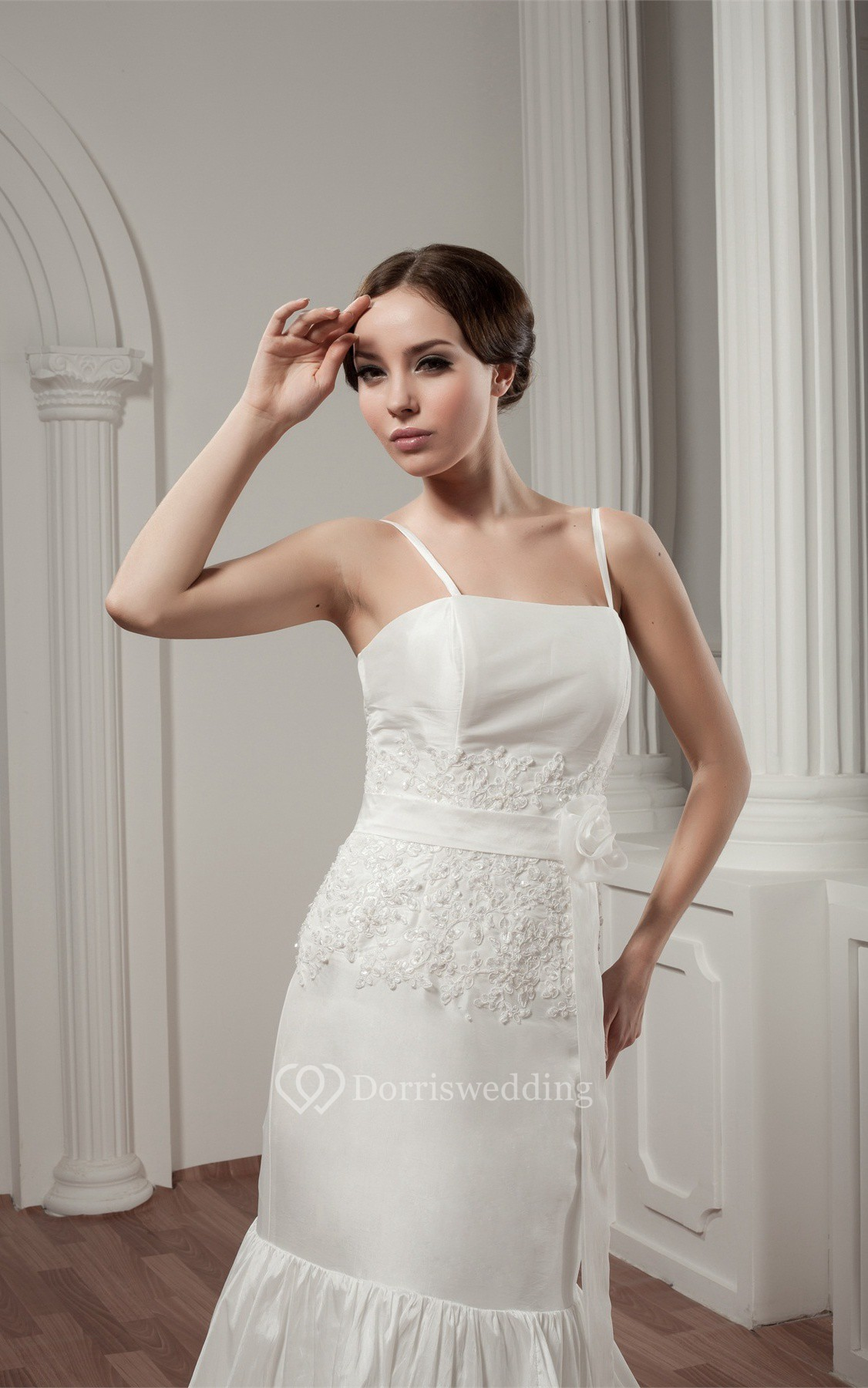 Spaghetti-Strap Tiered A-Line Flower and Dress With Lace