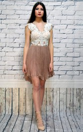 Ethereal Bateau Neck Sleeveless Chiffon Short Dress With