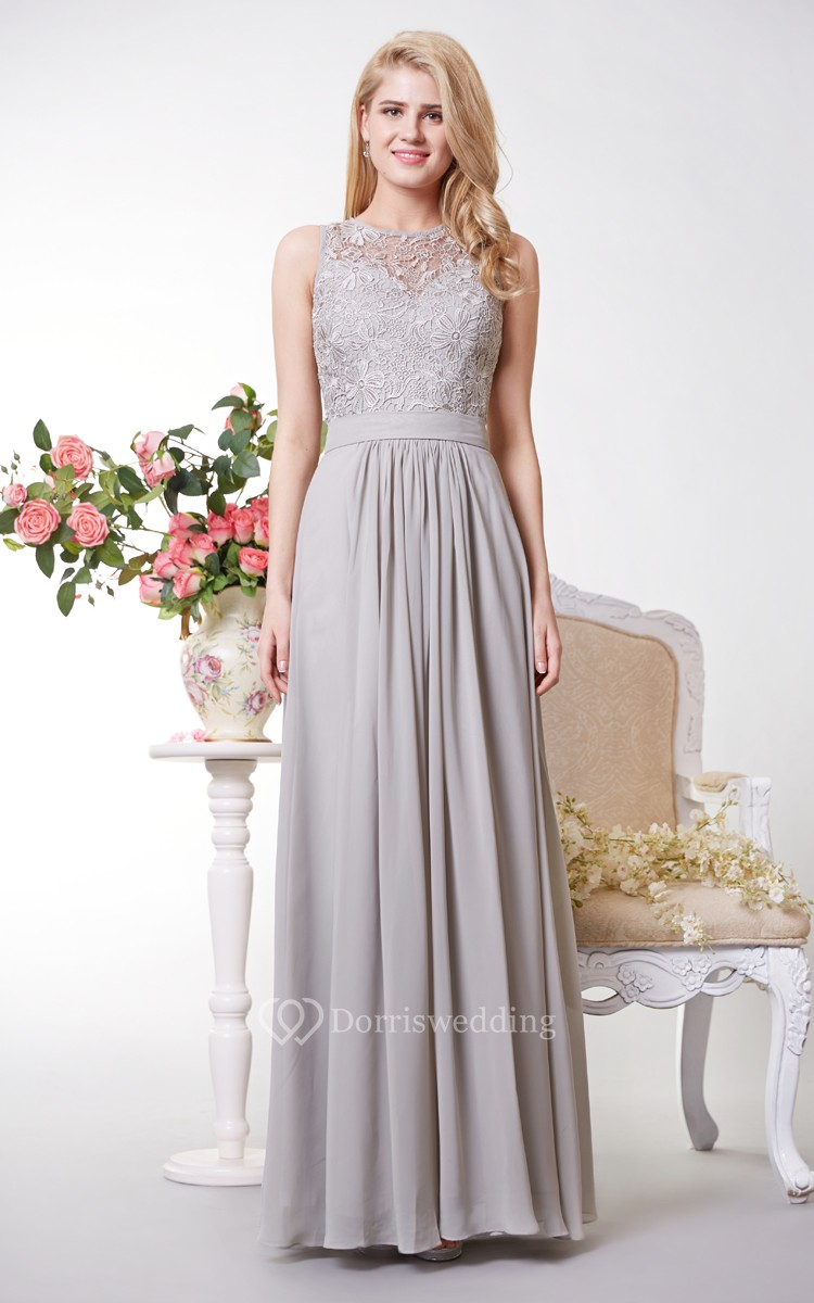 Tank style a line chiffon gown with lace bodice dorris for Black and grey wedding dress
