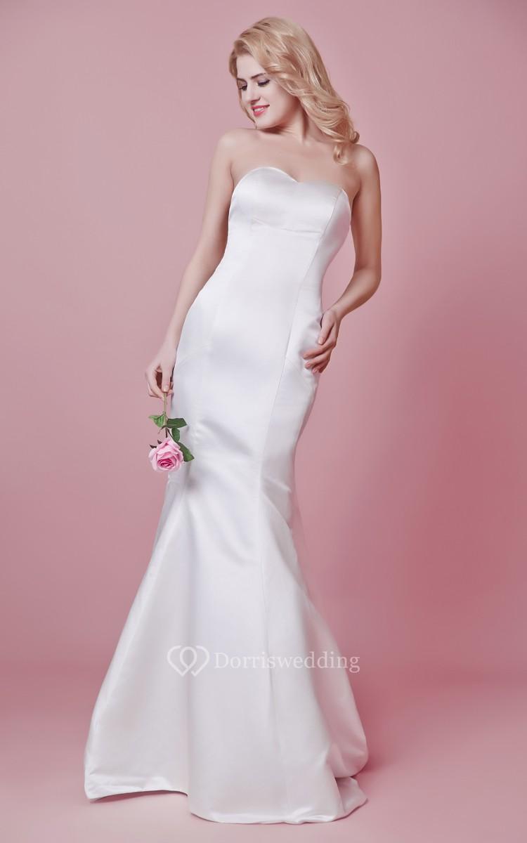 Backless strapless mermaid satin and chiffon dress for Strapless backless wedding dress