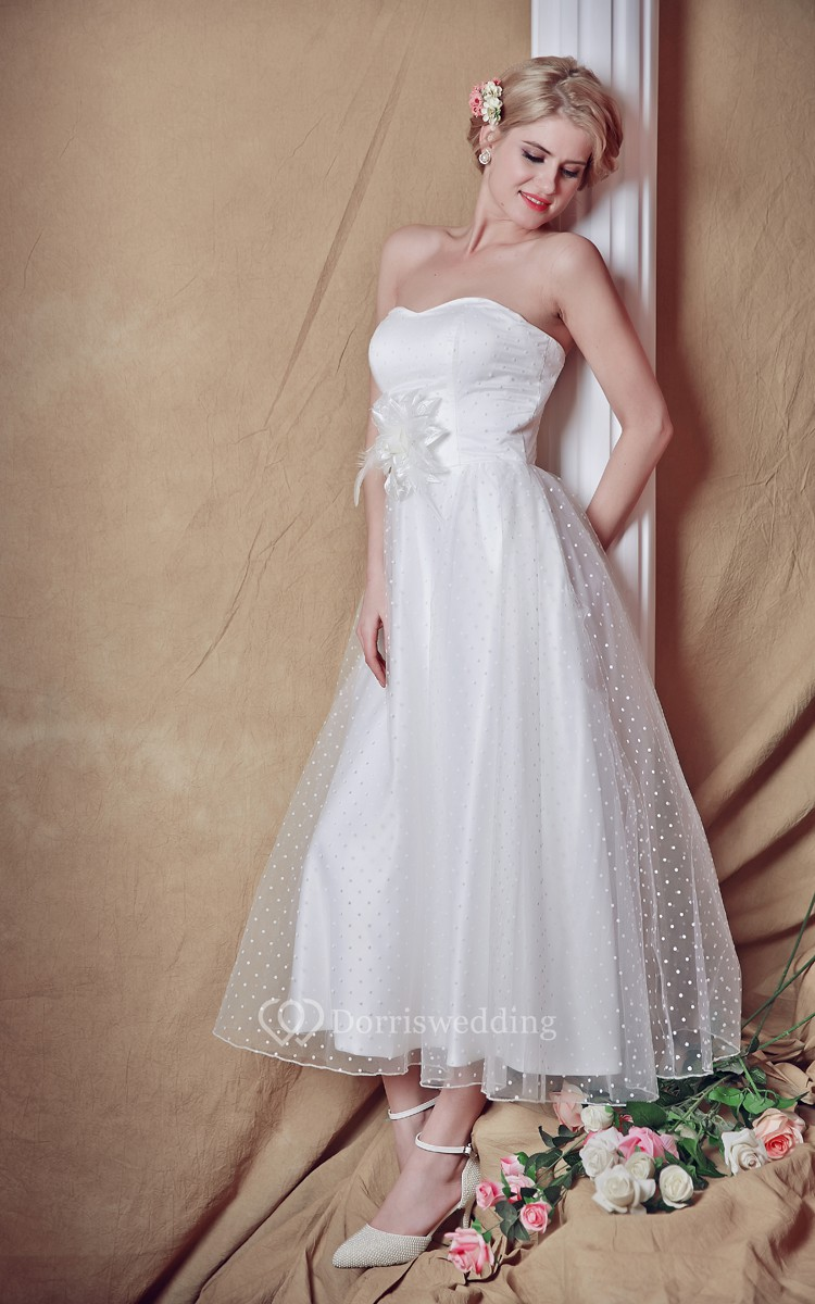 Backless strapless a line tea length wedding dress for Backless wedding dress bra