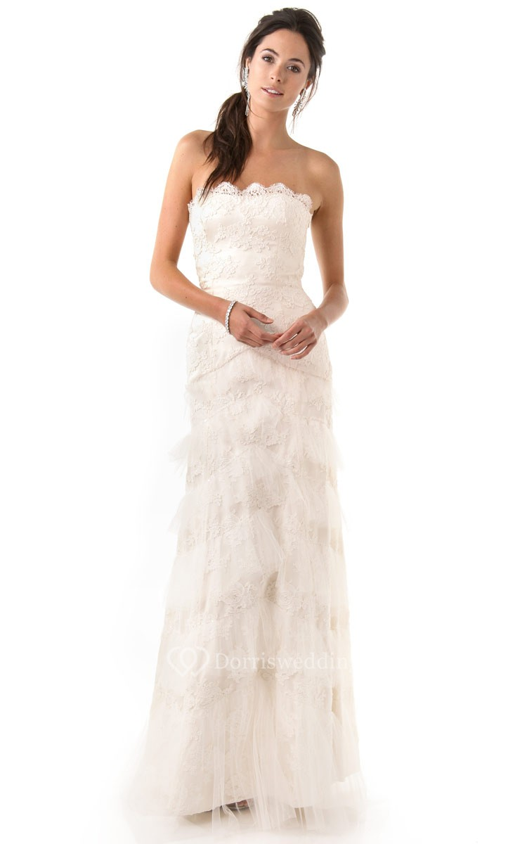 Long strapless ruffled sheath lace dress dorris wedding for Long strapless wedding dresses