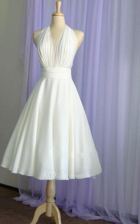 Halter Tea Length A Line Chiffon Dress With Pleated Bodice