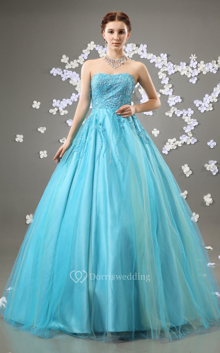 Beaded Top A-Line Quinceanera Ball Gown With Tulle Overlay - Dorris ...