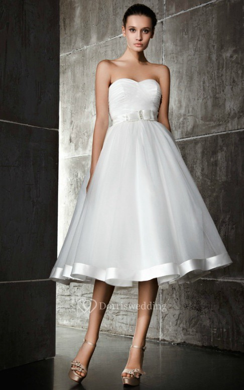 A line sweetheart tea length dress dorris wedding for Sweetheart tea length wedding dress
