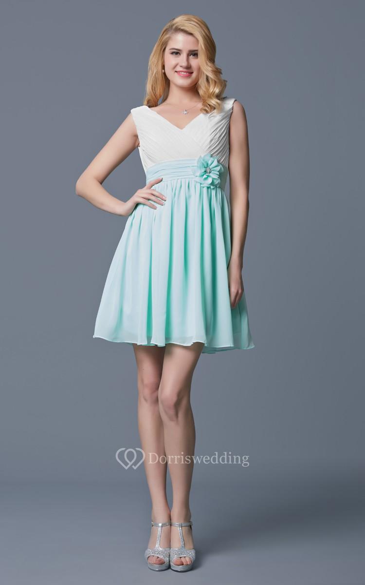 Sleeveless V Neck Empire Waist Short Chiffon Dress - Dorris Wedding