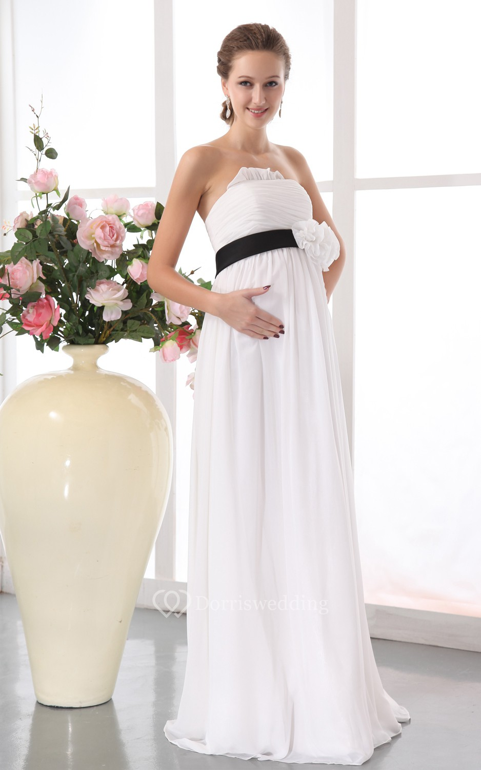 Strapless chiffon maternity dress with floral waistband for Maternity wedding dresses under 100