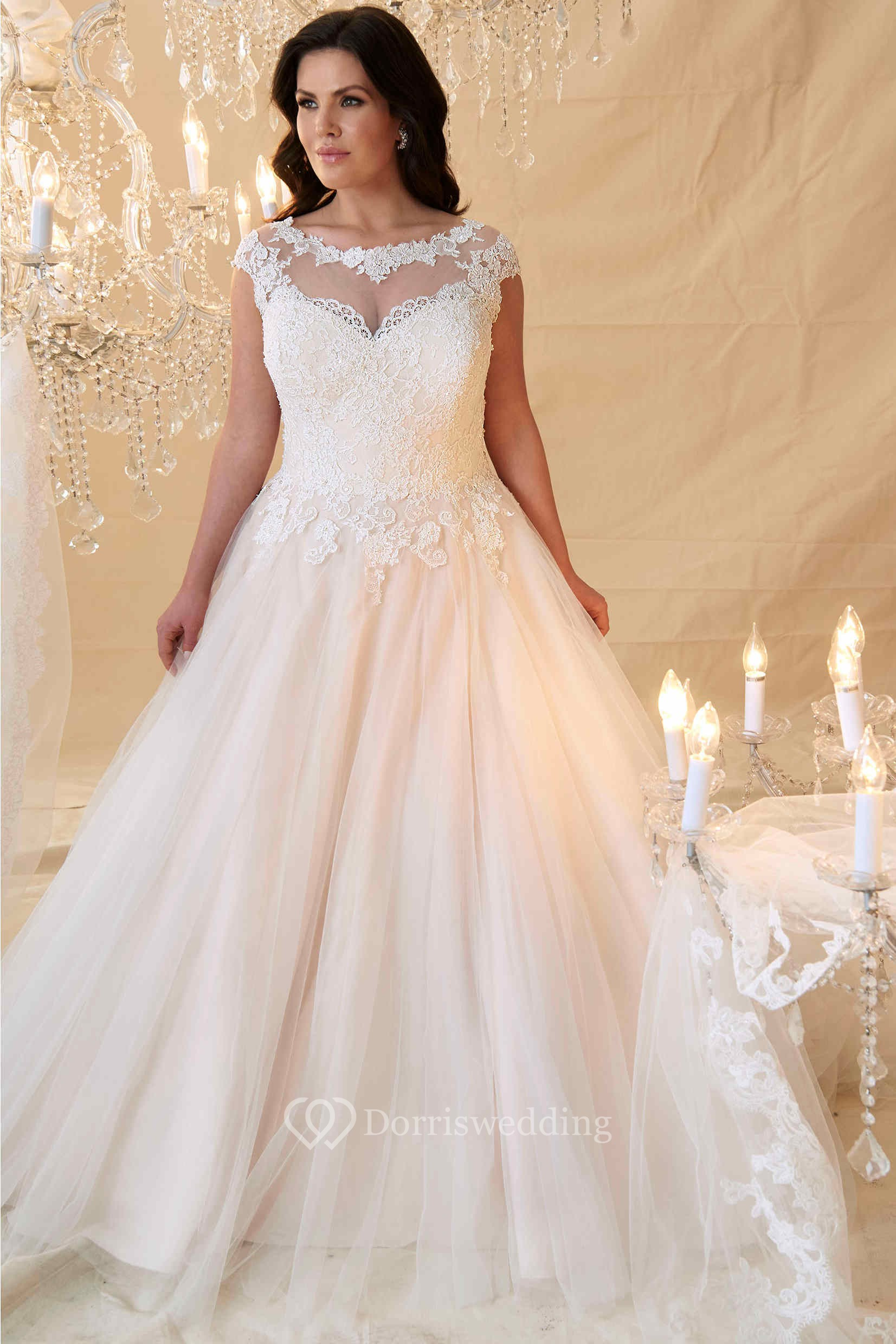 Ball Gown Cap-Sleeve Scoop-Neck Lace&Tulle Plus Size ...