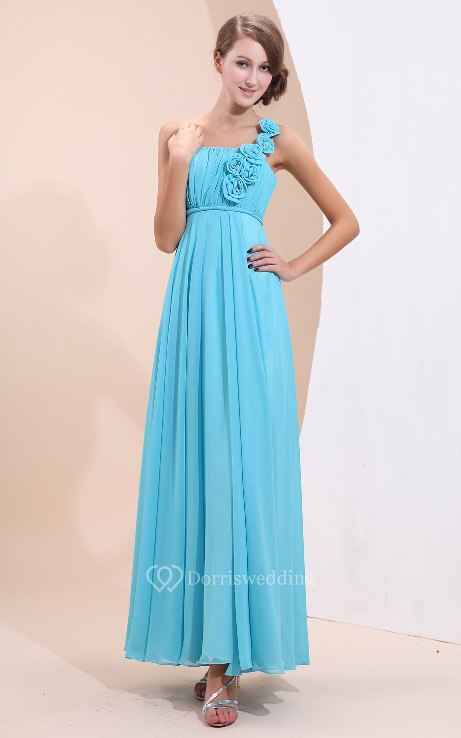 Simple ankle length chiffon dress with floral strap for Simple ankle length wedding dresses