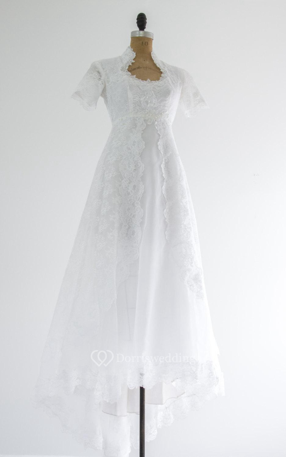 Queen anne neckline short sleeve a line lace dress with for Queen anne neckline wedding dress