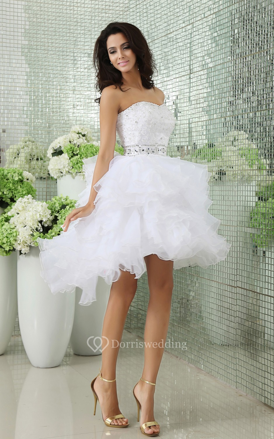 Short Wedding Gowns: Strapless Tiers Short Dress With Ruffles And Beadings