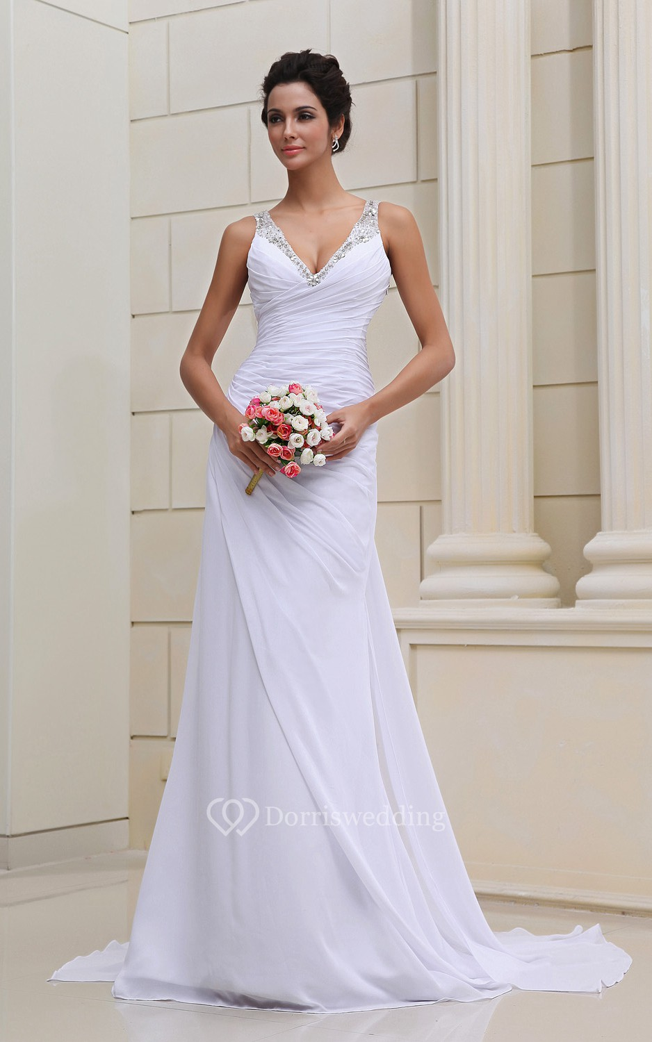 Strapless deep v neck chiffon dressse with sequins for V neck strapless wedding dress