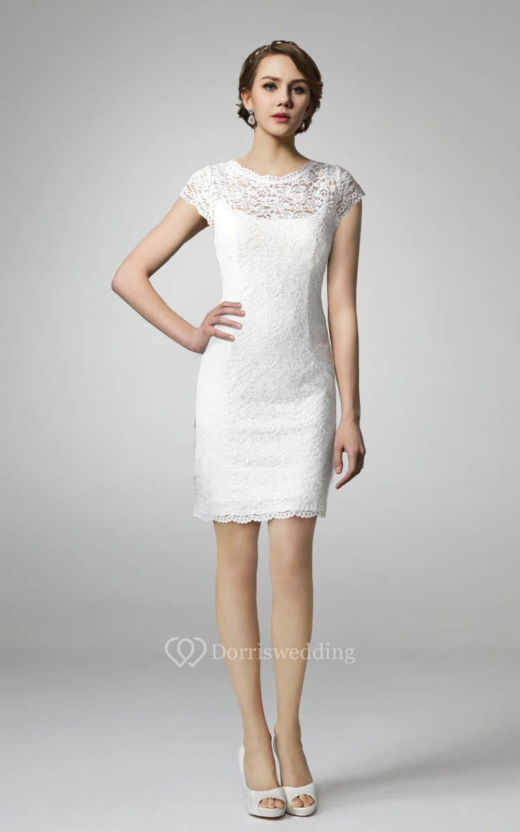 High neck form fitting lace short wedding dress dorris for Knee length fitted wedding dresses
