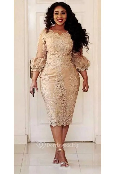 Plus Size Knee Length 3 4 Length Scalloped Lace Vintage