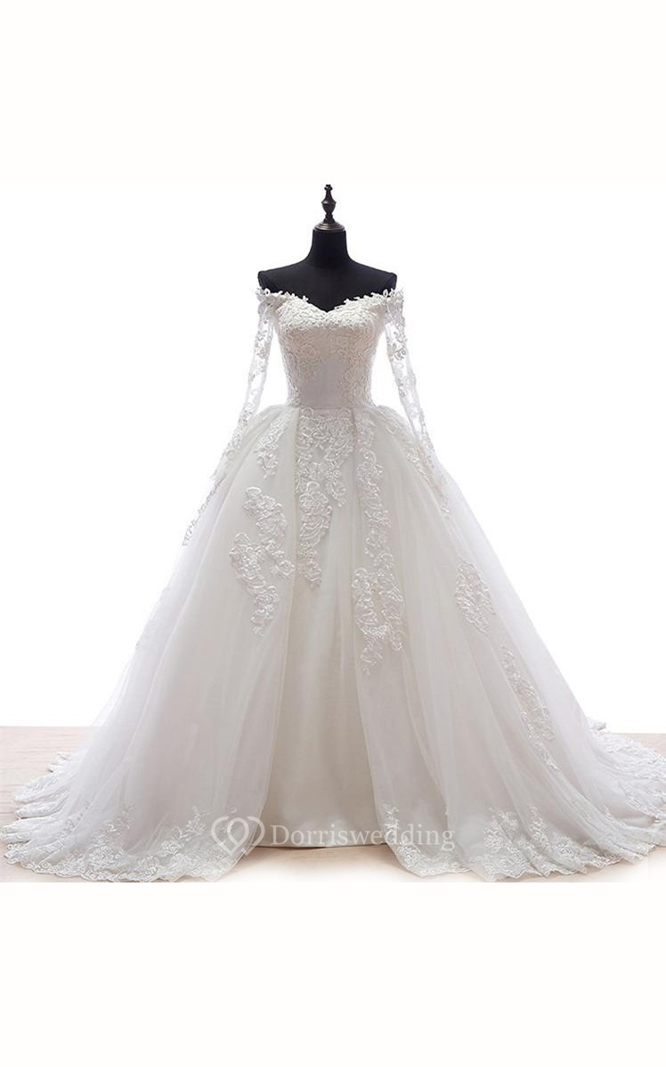 Sweetheart appliques tulle lace organza dress dorris wedding for Tulle and organza wedding dresses