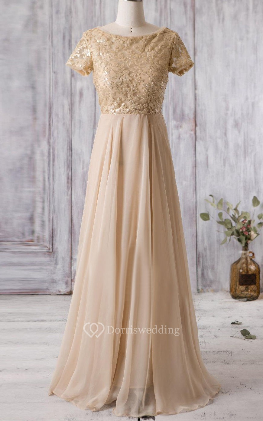 Bateau neck a line pleated chiffon long dress with lace for Simple cream colored wedding dresses