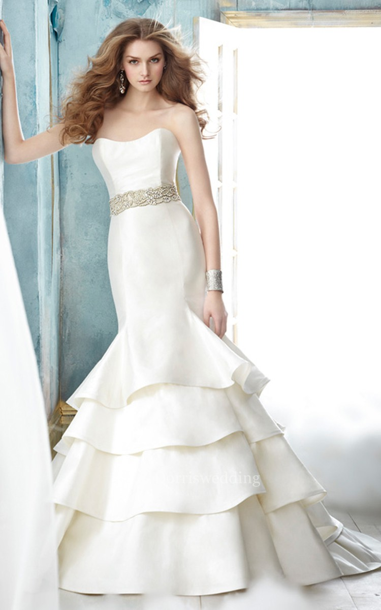 stunning strapless tiered dress with embellished