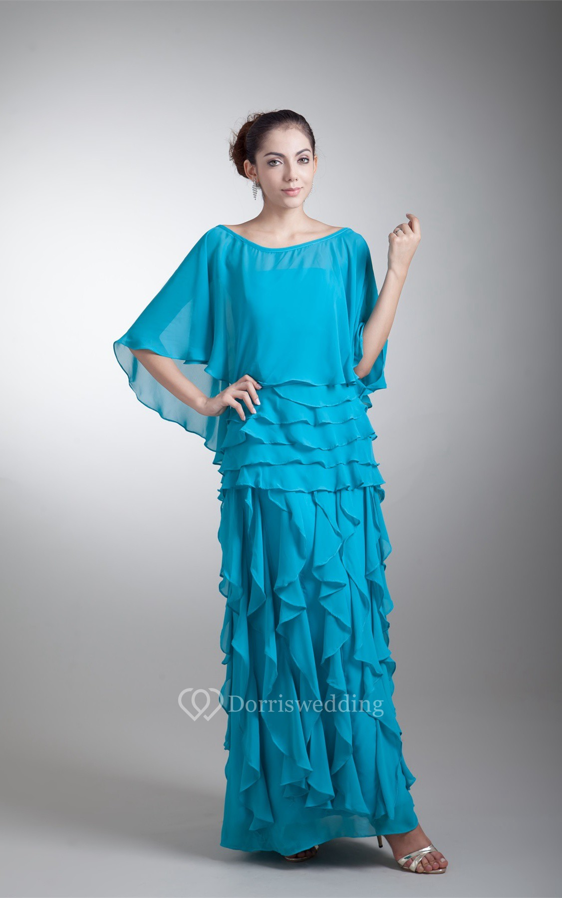 Strapless Ankle Length Chiffon Dress With Cascading