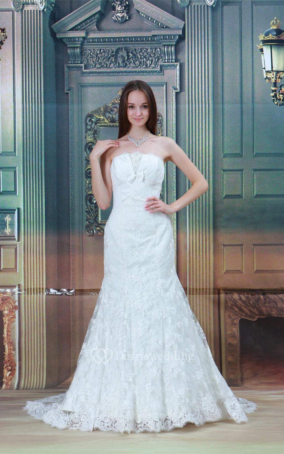 Gossamery sleeveless strapless trumpet satin appliqued for Satin trumpet wedding dresses