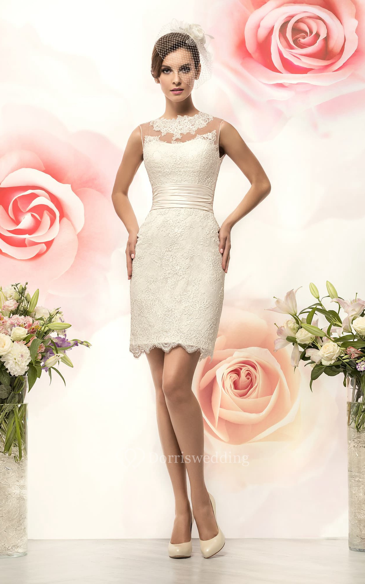 Pencil short jewel sleeveless keyhole lace dress with for Pencil dress for wedding