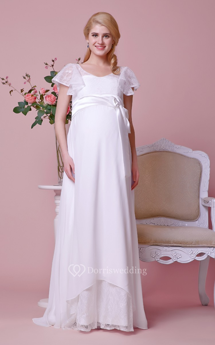 Mands Dresses For A Wedding : Graceful scoop neck empire a line long dress with lace