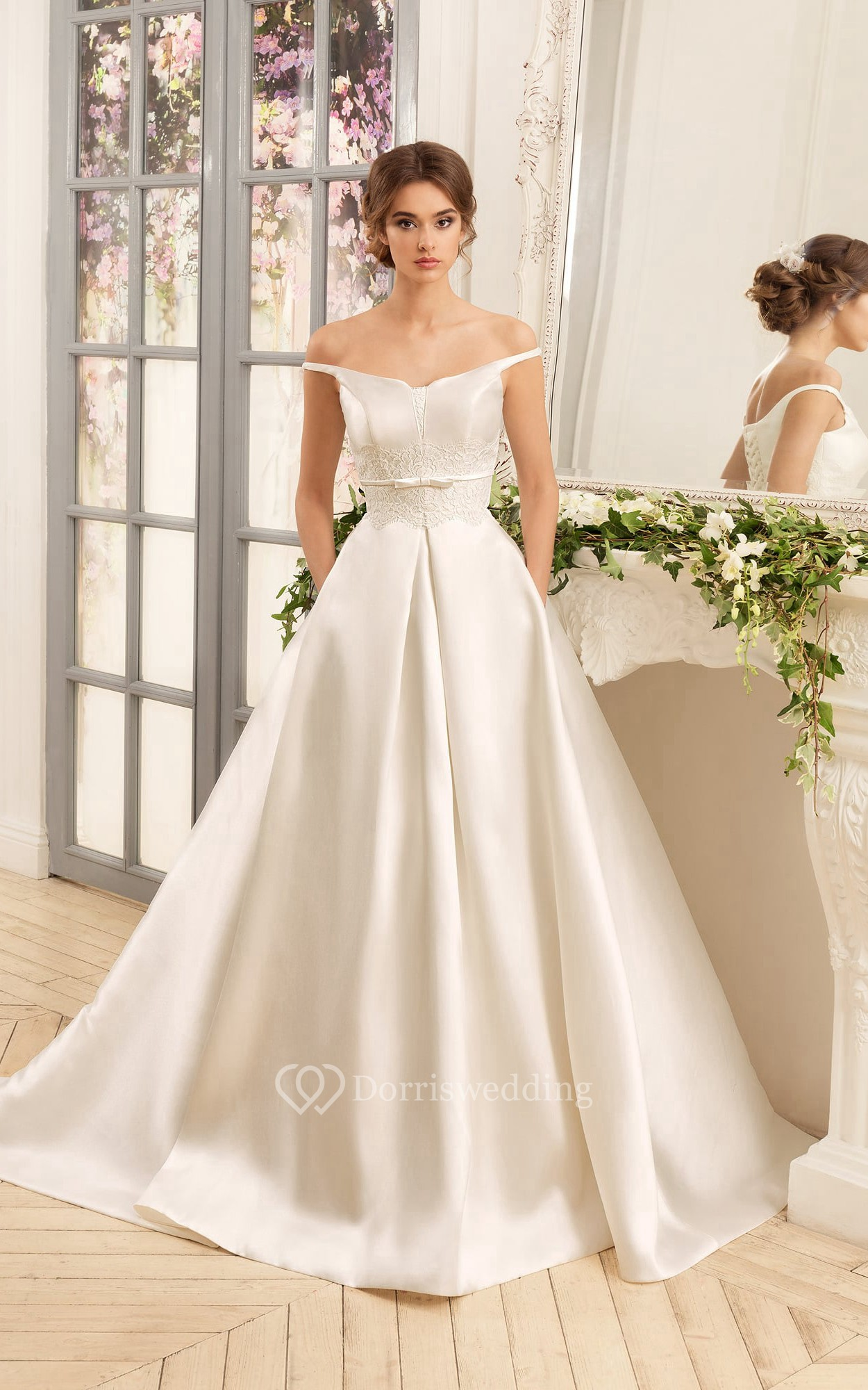 A line floor length off the shoulder lace up satin dress for Dress up wedding dresses
