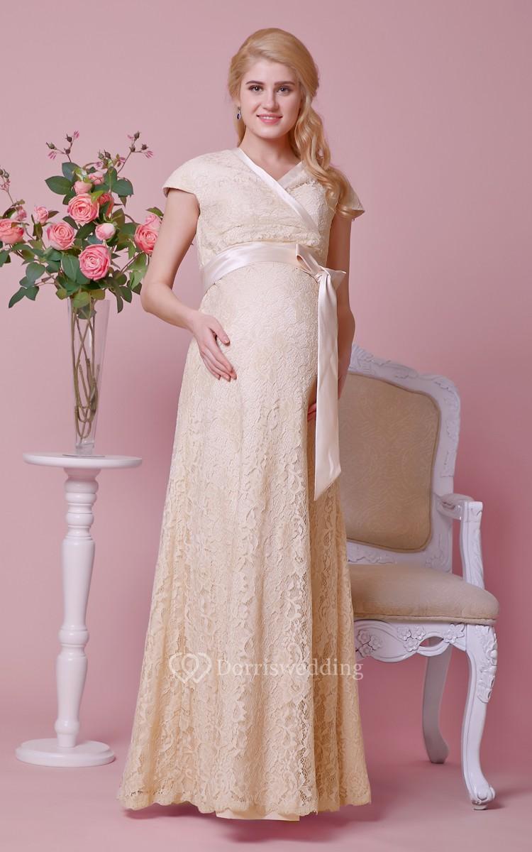 Graceful V-neck Cap-sleeved Lace Long Dress With Sash - Dorris Wedding