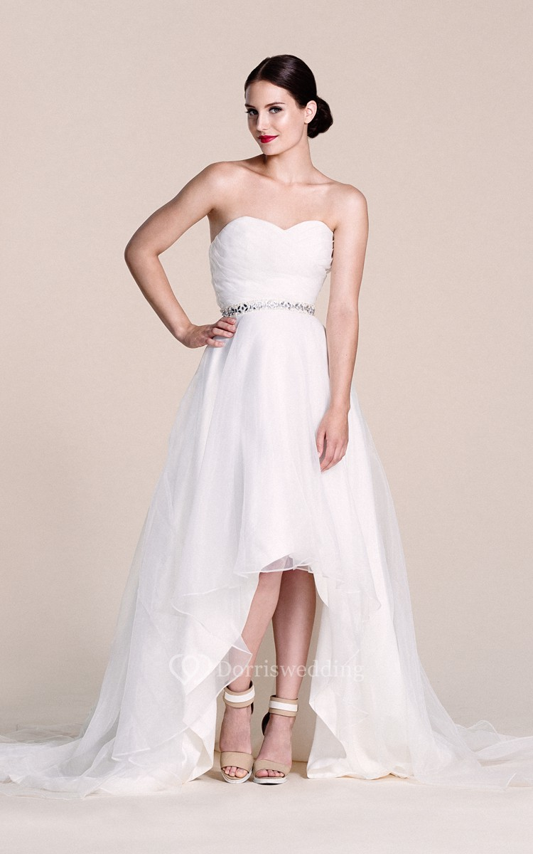 Sweetheart high low gown with beaded waist dorris wedding for High low sweetheart wedding dress