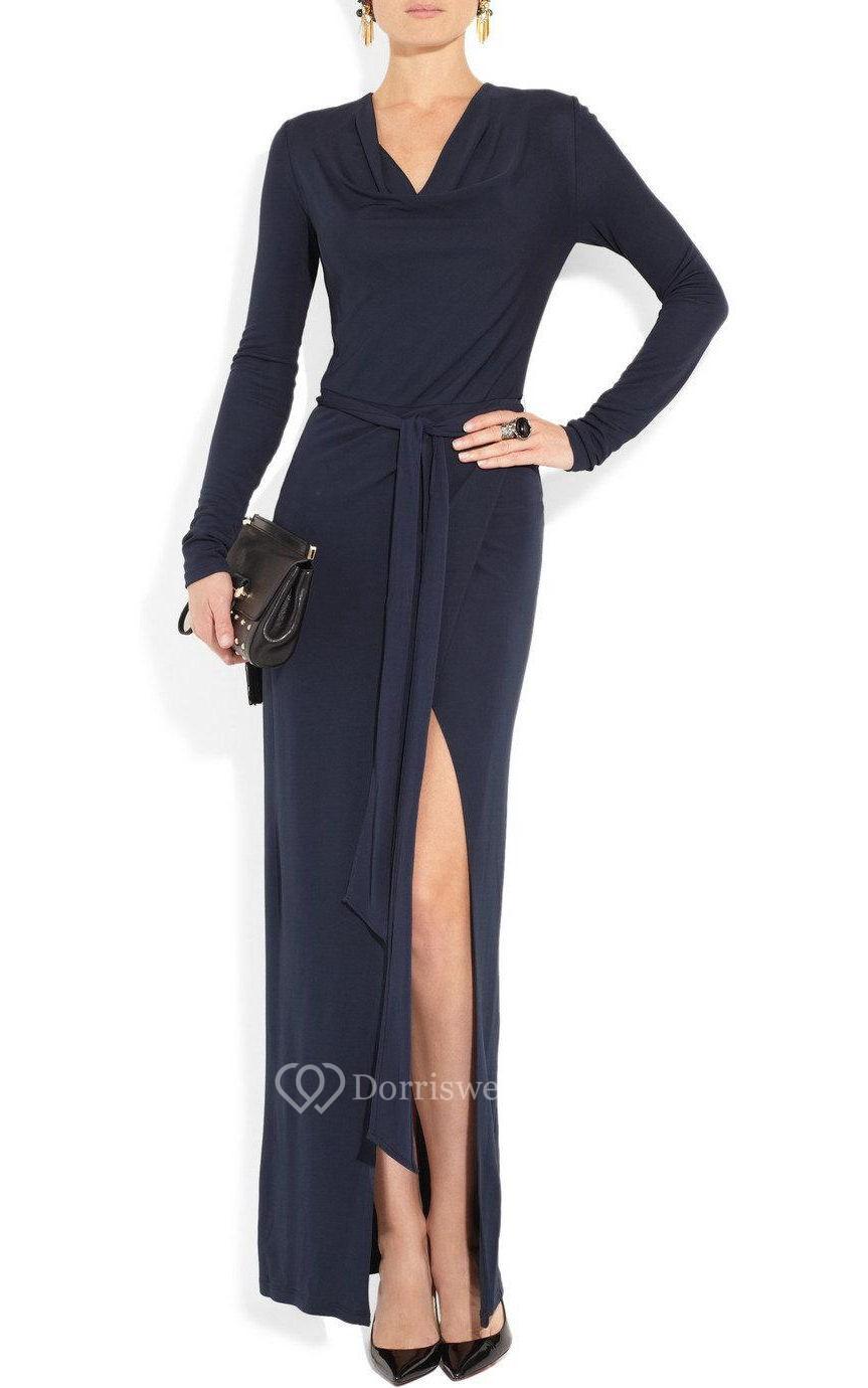 V Neck Long Sleeve Sheath Jersey Long Dress With Sash and ...