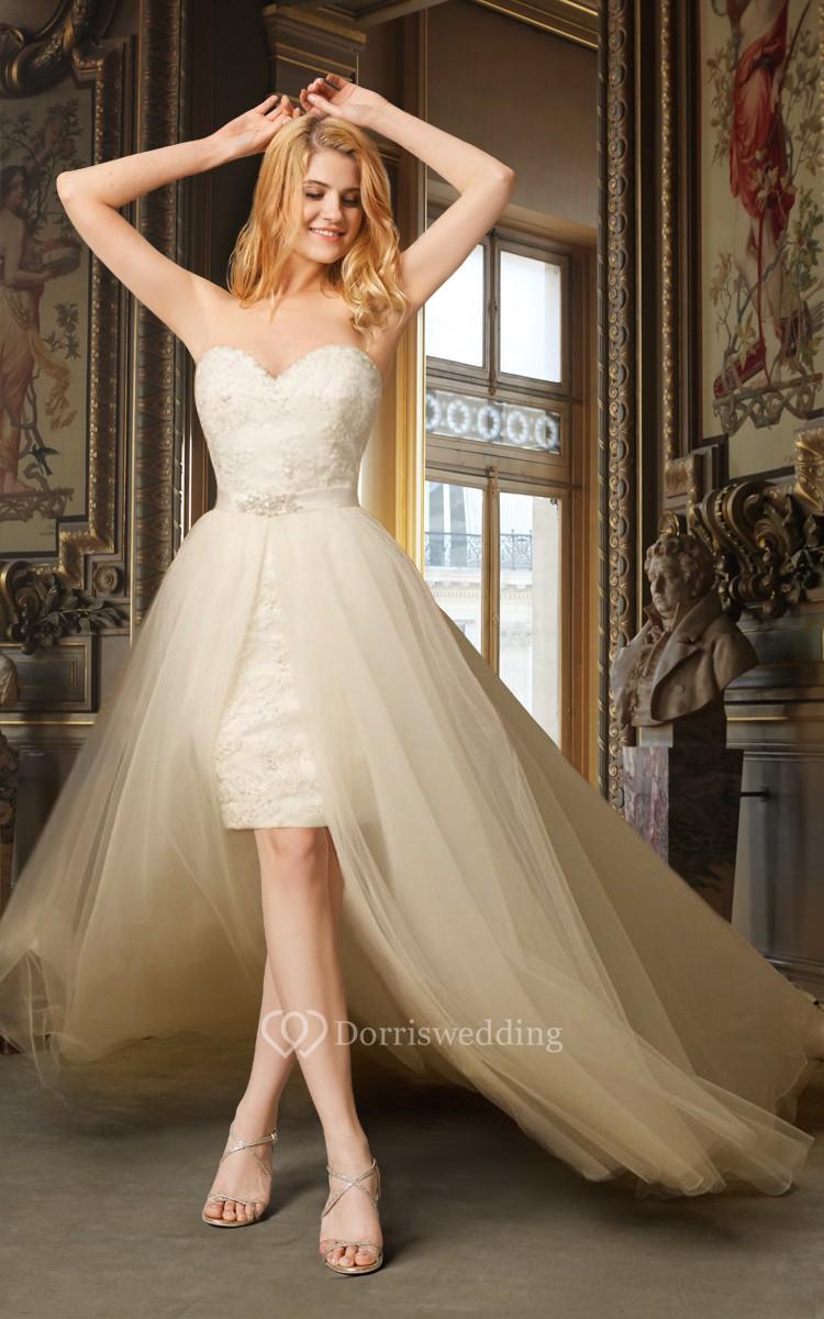 Sweetheart high low wedding dress with removable skirt for High low sweetheart wedding dress