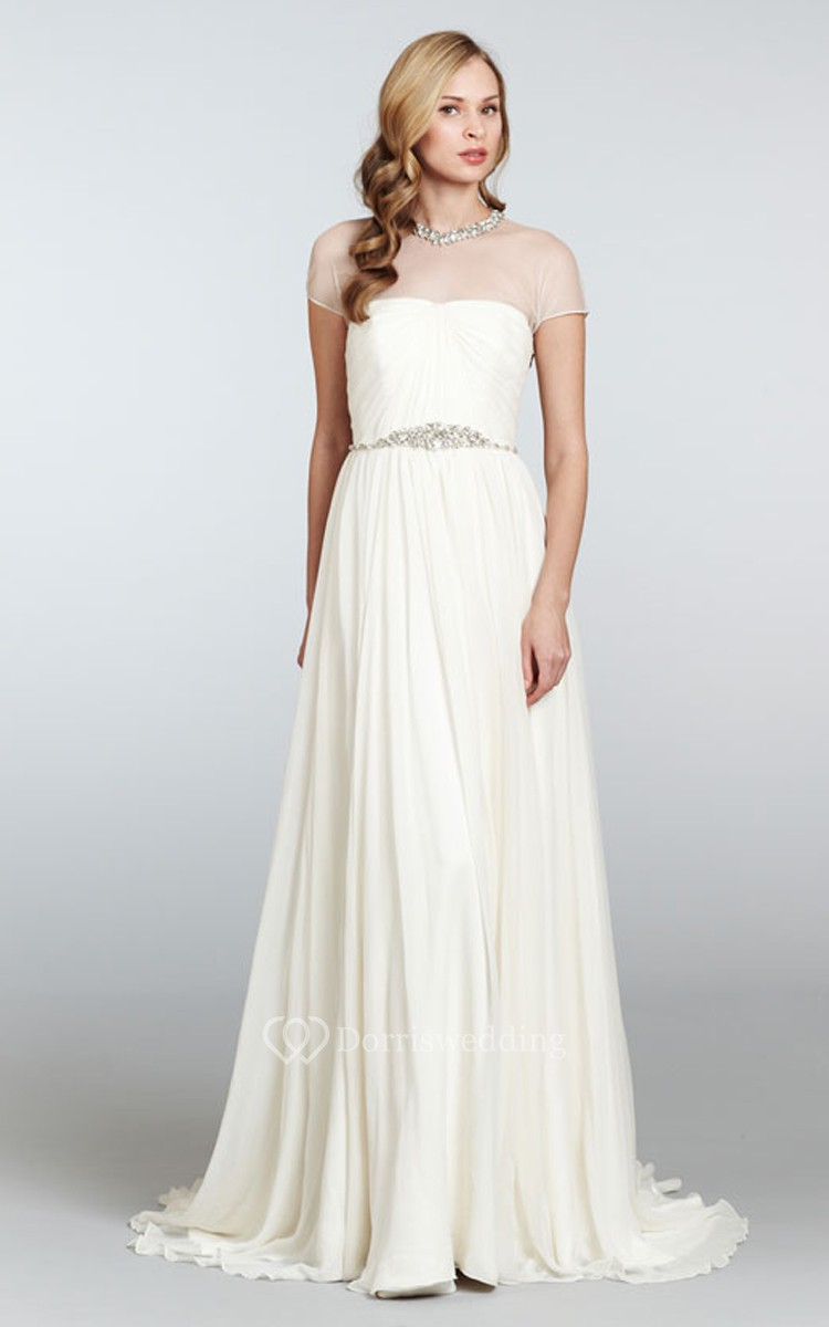 Graceful draped bodice sheath dress with illusion neckline for Sheath wedding dress with beading and side drape