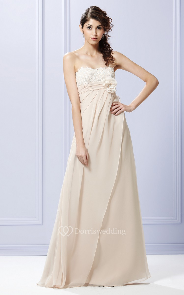Side draped strapless gown with flower and bow dorris for Side draped wedding dress
