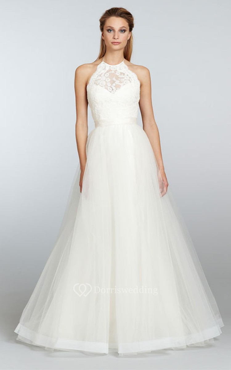 Noble sleeveless lace bodice tulle dress with ribbon for Shop simple wedding dresses