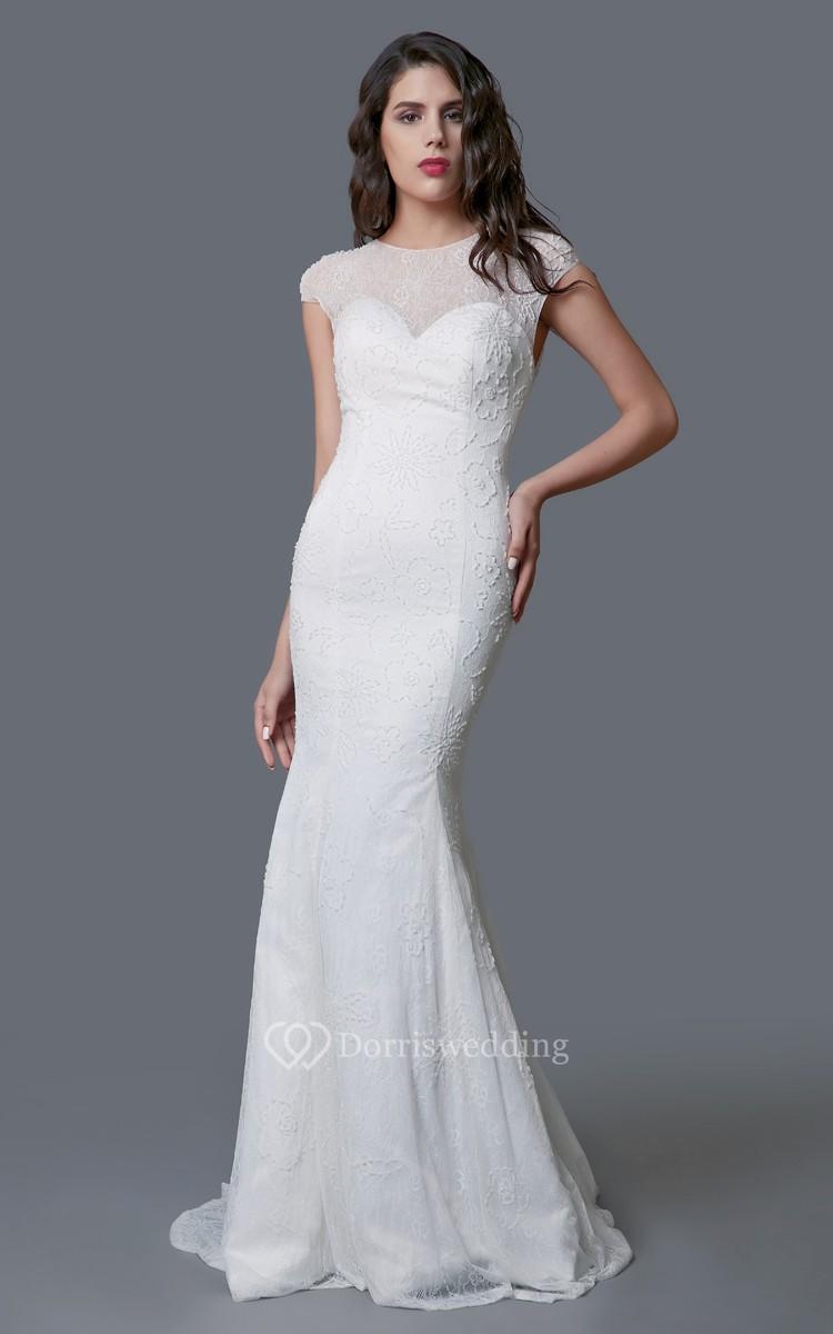 Ethereal cap sleeve long lace sheath dress dorris wedding for Sheath wedding dress with cap sleeves