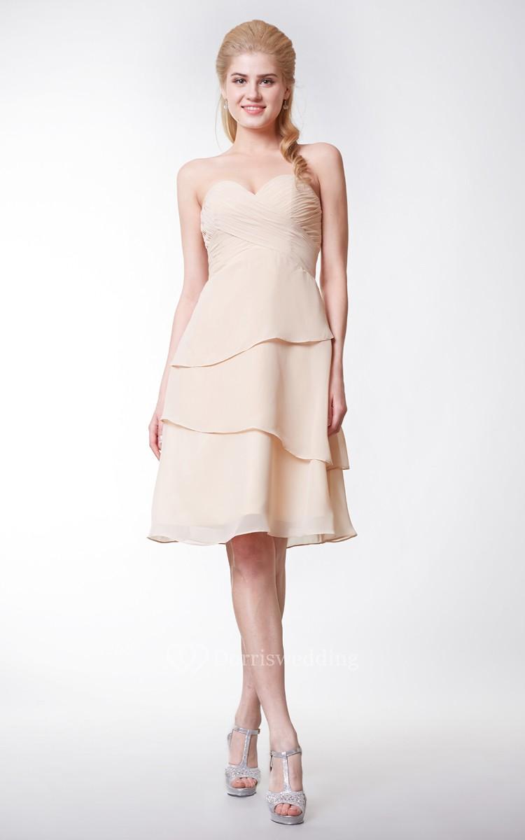 Simple Style Sweetheart Chiffon A Line Knee Length Dress