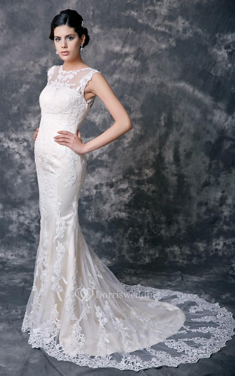 Feminine lace overlay sheath wedding dress dorris wedding for Lace overlay wedding dress
