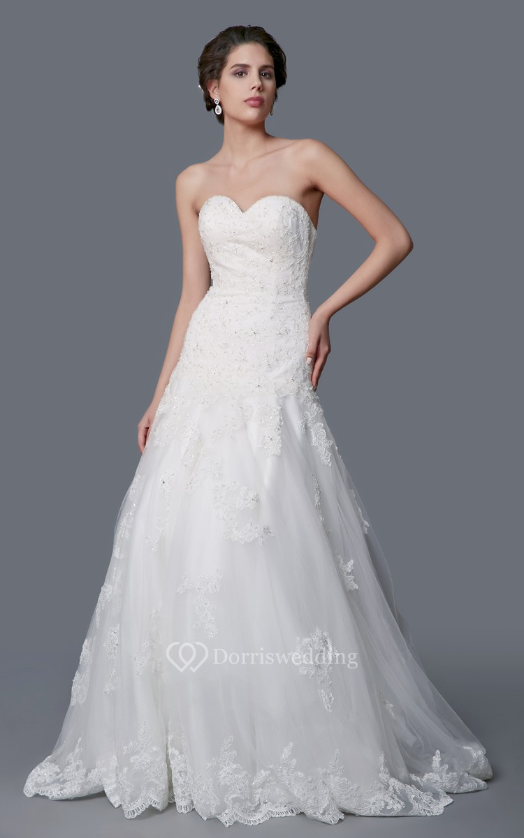 Enchanting sweetheart a line long lace dress with dropped for A line dropped waist wedding dress