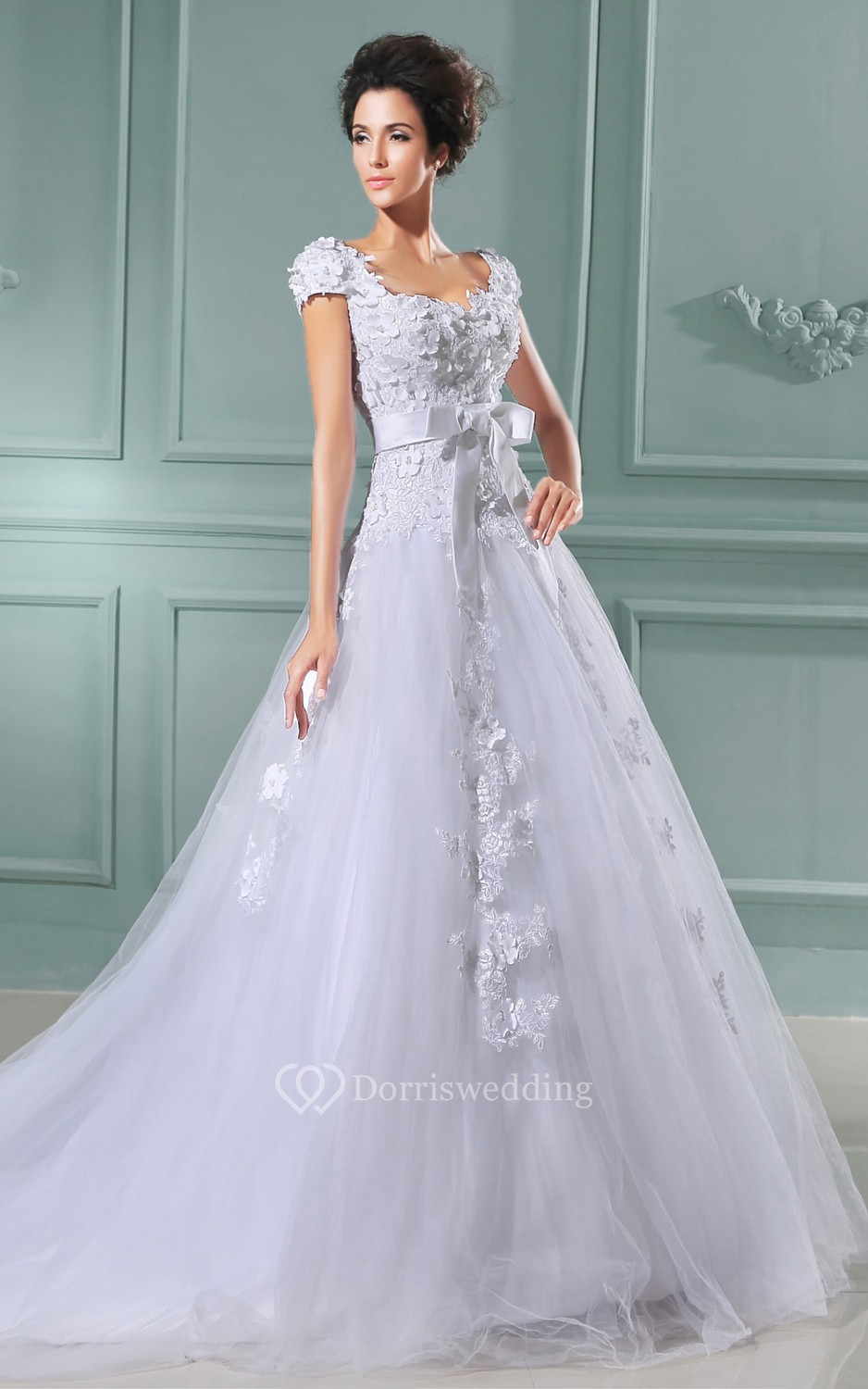 Queen anne neckline a line dress with lace bodice and for Queen anne neckline wedding dress