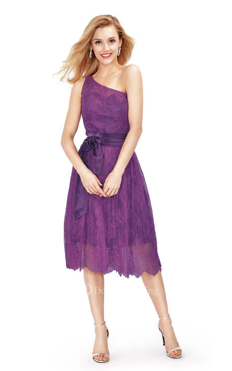 One shoulder tea length dress with lace and bow dorris for Mid length dresses for wedding guests