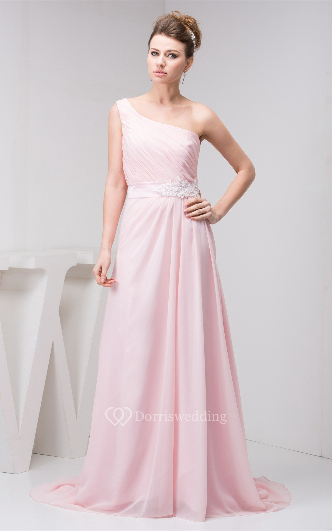 Pastel chiffon one shoulder appliques and gown with for Junior wedding guest dresses for summer