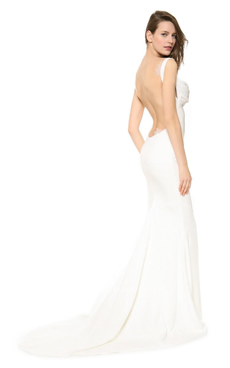 Elegant long backless mermaid dress with backless style for Backless mermaid style wedding dresses