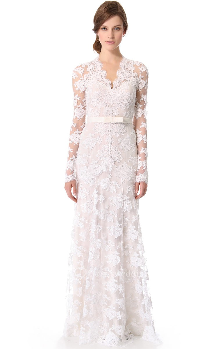 Unique long sleeves long low v sheath lace dress dorris for Unique wedding dresses with sleeves